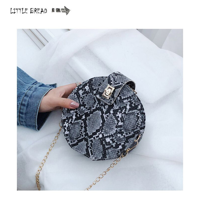Small Round Bag Casual Women Handbags Printed Small PU Leather Shoulder Crossbody Bags Female Serpentine Messenger Bag Lady Bag(China)