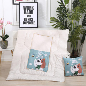Dropshipping 2 in 1 cotton cartoon foldable patchwork quilt blanket printed square home office car throw pillow back cushion(China)