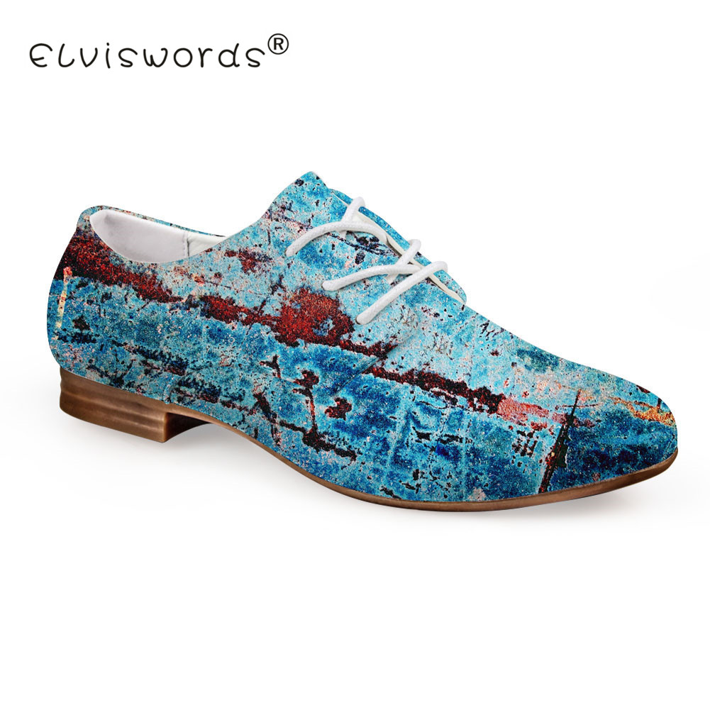 ELVISWORD Blue Printing Flat Shoes Women Vintage Style Leather Shoes Ladies Summer Oxford Shoes for Females