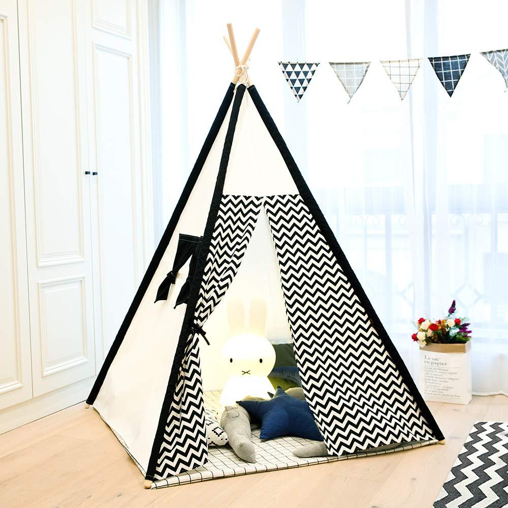 Noir Zigzag toile épaisse intérieur enfants jouent Tipi Wigwam tente enfants Tipi tente chambre décor sans tapis