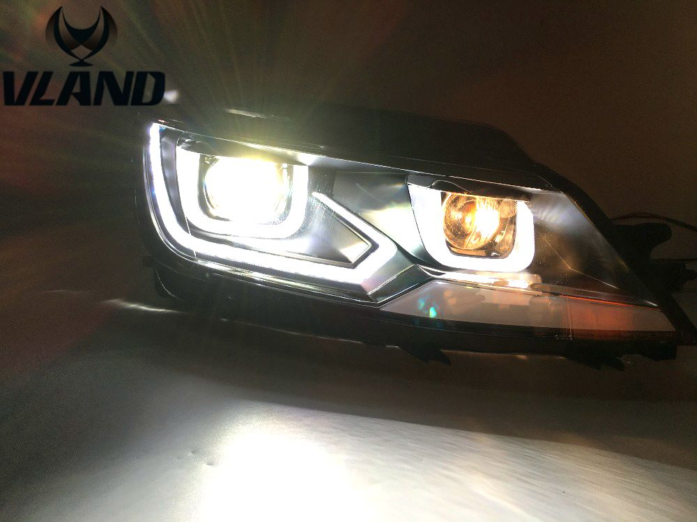 Free Shipping for Car Head Lamp for VW Lamando Headlight 2014-2015 LED DRL With Xenon BI projector Plug and Play Design free shipping h4 car headlights for 2015 2017 jeep renegade hid headlight with drl and bi xenon projector