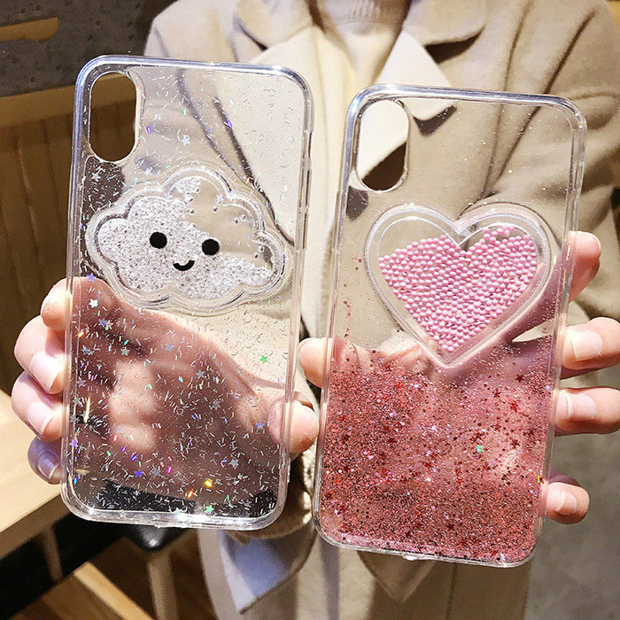 3D Cloud Heart Glitter Case for iPhone X XS max xr Transparent Soft Silicon  Capa Funda 6ced5156ddcd