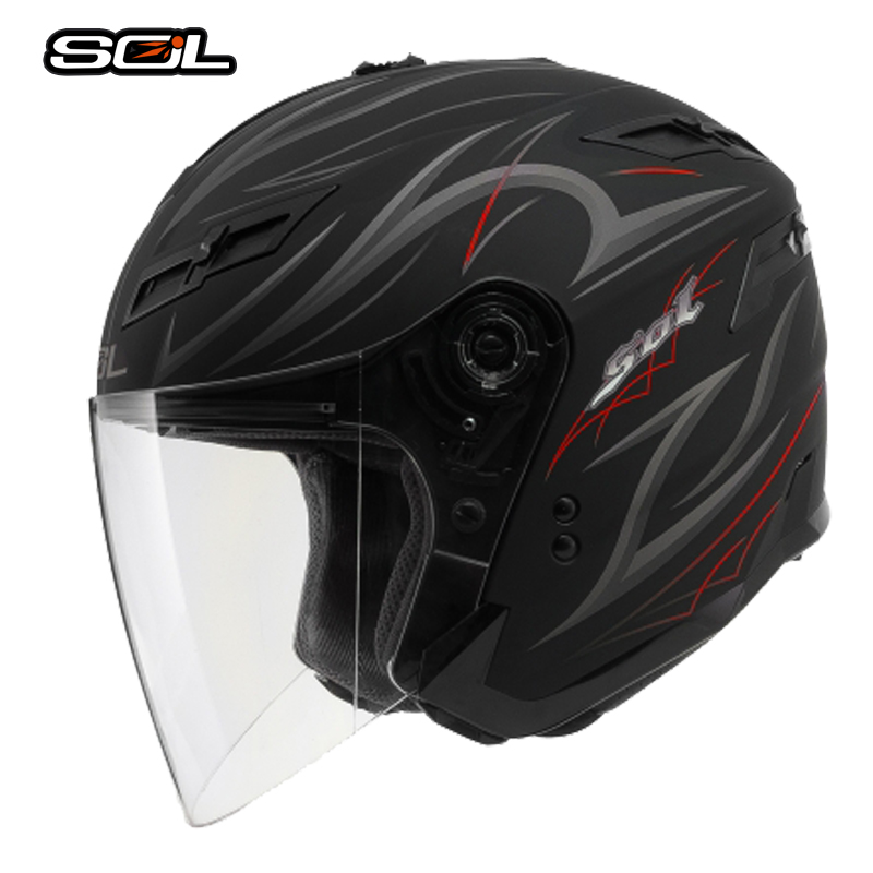 SOL DOT Motorcycle Helmets Cross Country Helmets Double Lens Motorcycle Helmets LED light Send down the chin