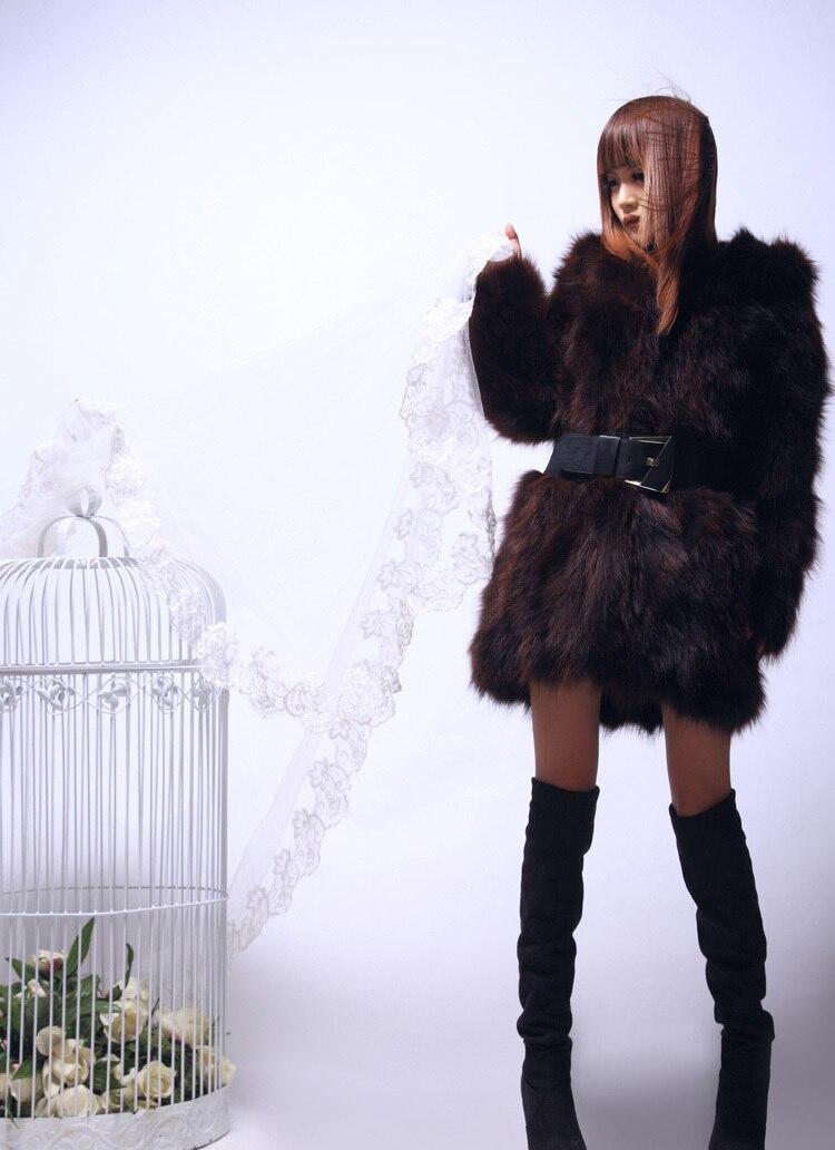 Waschbären freies Hp422 Natürlicher Verschiffen Winter Frauen Black Warm Pelz Echten Mode Langen Dicken Mantel Pelz wBcHIq1