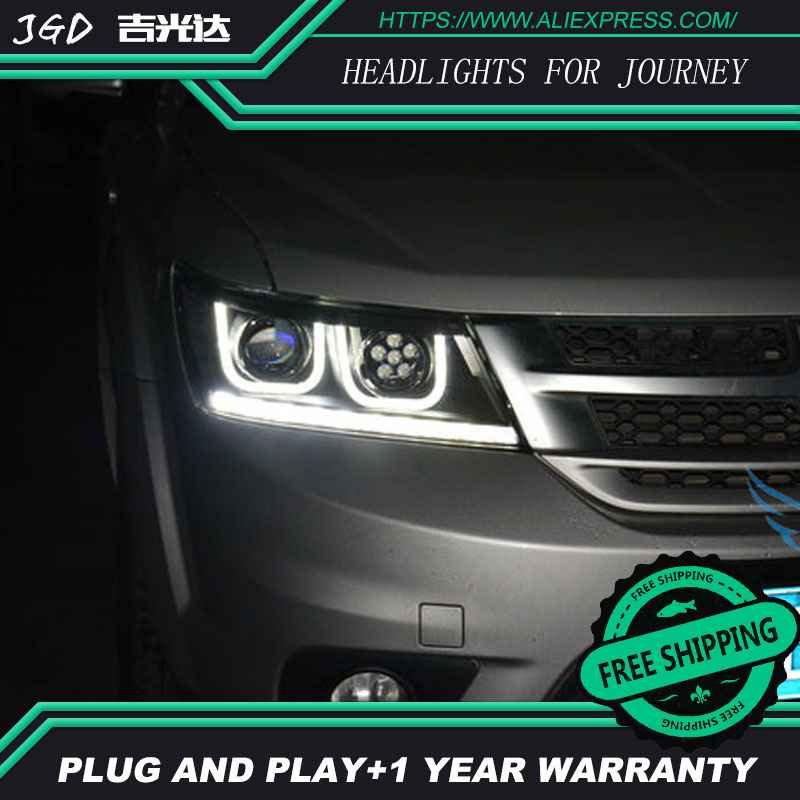 Free shipping ! Car styling LED HID Rio LED headlights Head Lamp case for Dodge Journey 2009-2013 Bi-Xenon Lens low beam