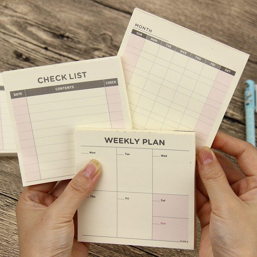 1 PC Unid lindo Kawaii semanal planificador de trabajo diario Agenda Filofax para niños escuela suministros