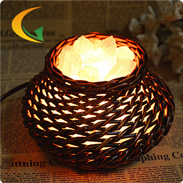 modern creative handmade rattan S grade salt crystal lamp table lamp night light bedside lamp Eye table lamp  Lights