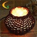 Modern criativo handmade rattan S grau de sal de cristal lâmpada de mesa luz da noite da lâmpada de cabeceira lâmpada de mesa Olho lâmpada Luzes