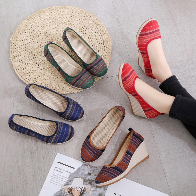 AARDIMI Retro Handmade Cotton Fabric Platform Women Shoes National Style Shallow Slip On Women Pumps High Heeled Shoes Woman