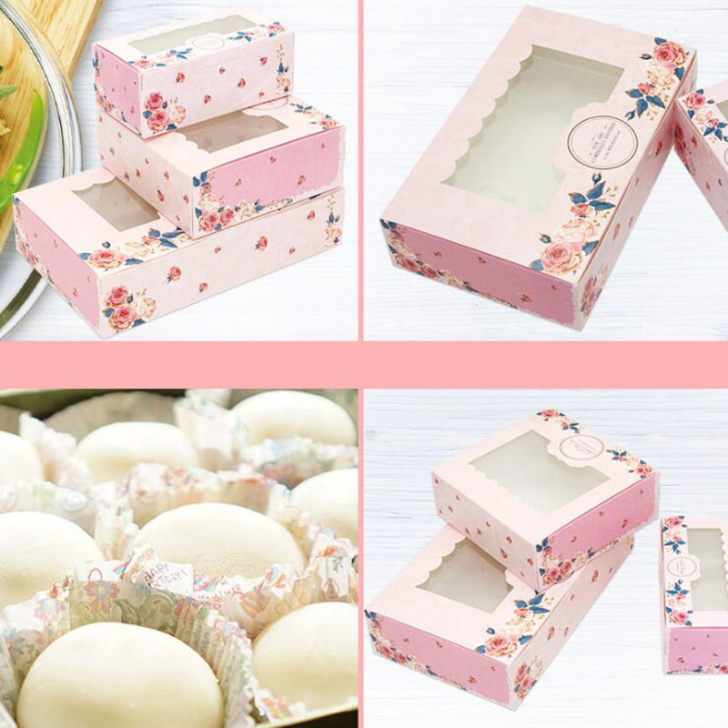 2019 10 Pcs New Paper Gift Box With Window Wedding Party Pink Rose Wreath Paper Box Cake Food Packaging Candy Cookies Cupcake