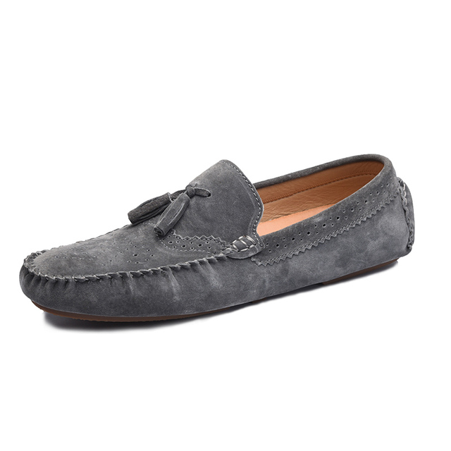 Tassel Moccasins Men Shoes Casual Suede Shoes Men Loafers Driving Slip On Gommini Brown Gray Blue