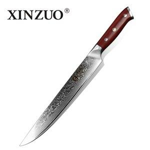 Image 1 - XINZUO 10 بوصة الساطور سكين اليابان دمشق الصلب المهنية تقطيع طويل سكين المطبخ روزوود مقبض السوشي السلمون السكاكين