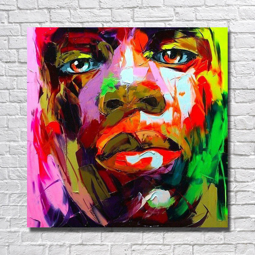 African man nude body picture hand paitned colored man faces oil paintng for home wall decoration