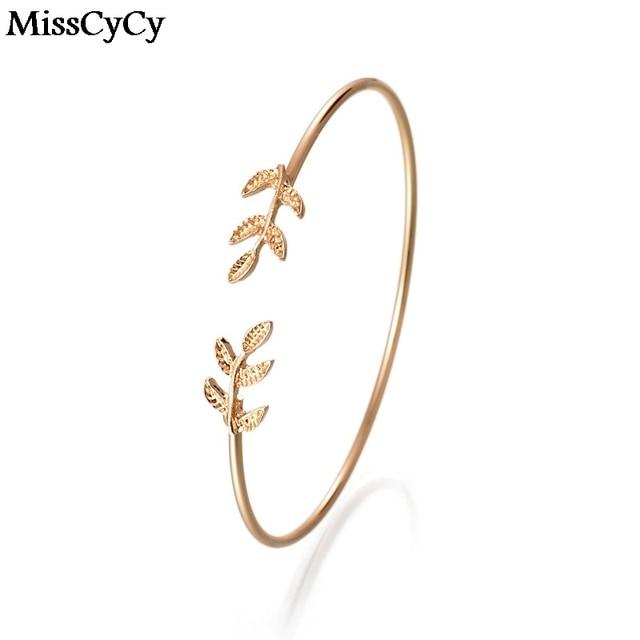 MissCyCy Vintage Color Oro Bracciali e Braccialetti di Metallo Foglia Foglie di