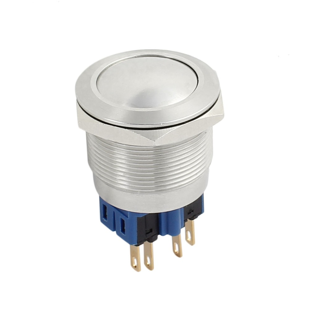 """UL AC 5A 250V 25mm 0.98"""" Mounting Thread Domed Round 1NO 1NC DPST Latching Stainless Steel Metal Waterproof Push Button Switch"""