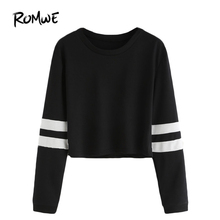 ROMWE T shirt Women 2016 Clothing Casual Ladies Autumn Tees Round Neck Varsity Striped Long Sleeve Crop T-shirt