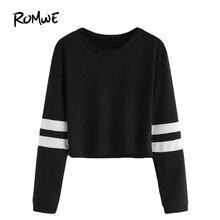17f48919702 ROMWE футболка Для женщин 2018 Костюмы Повседневное женские осенние  футболки с круглым вырезом Varsity Striped укороченный топ с.