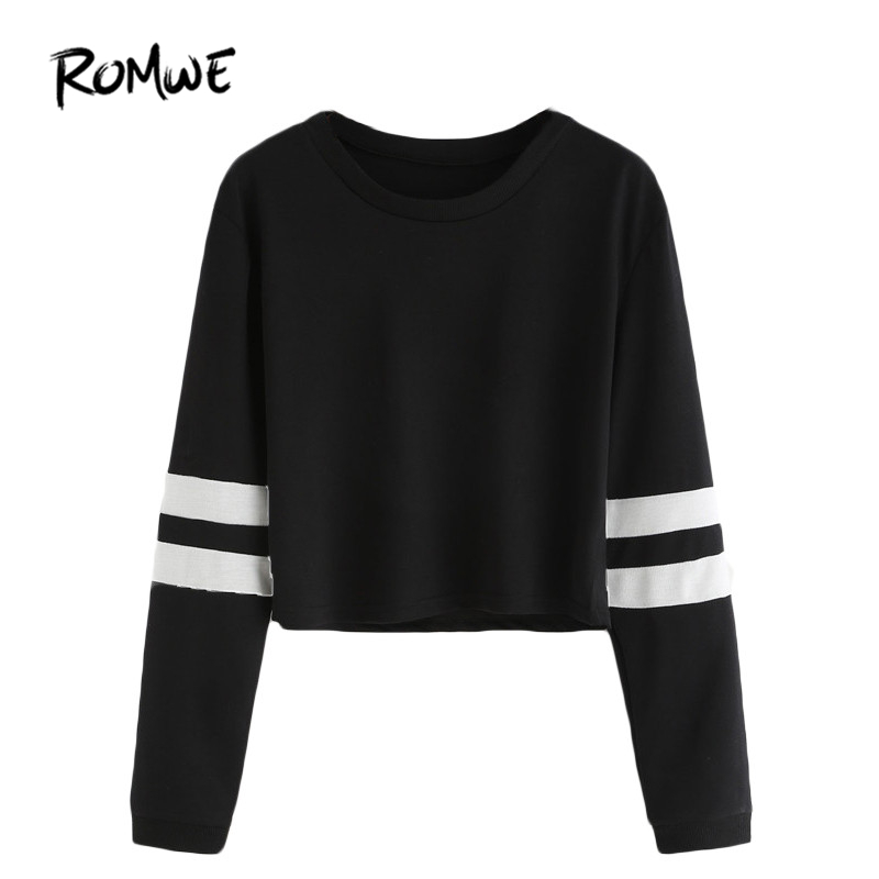 ROMWE T-shirt Dames 2018 Kleding Casual dames Herfst Tees Ronde hals Varsity gestreepte lange mouw gewas T-shirt