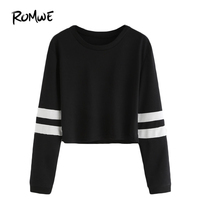 ROMWE T Shirt Women 2016 Clothing Casual Ladies Autumn Tees Round Neck Varsity Striped Long Sleeve