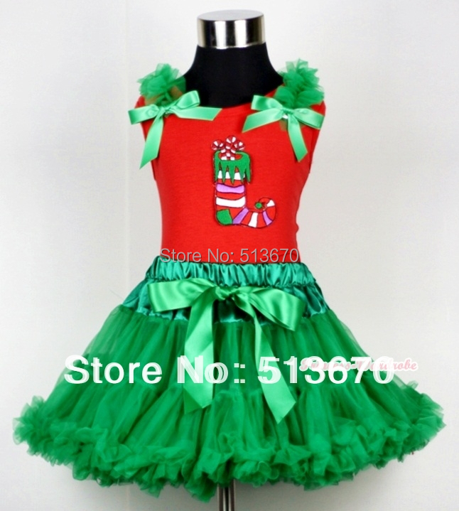 Kelly Green Pettiskirt & Christmas Stocking Print Red Tank Top with Kelly Green Ruffles and Bow MACM108 kiniki kelly tanga mens