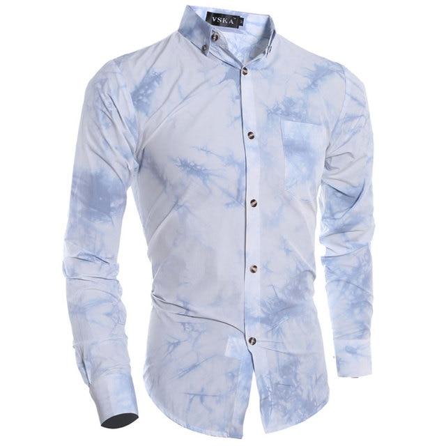 2016 New Blue & White Porcelain gradient tie-dye Men Shirt Long sleeve Mens Dress Shirts Slim Fit Fashion Chemise Homme