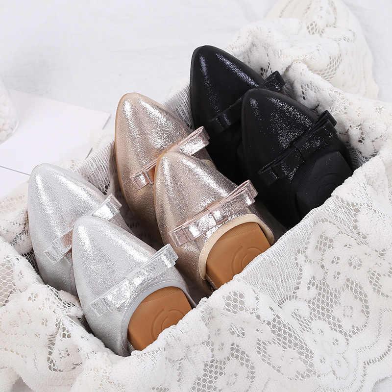 Thời trang Nữ Dẹt Ba Lê Giày Nơ Đầm vải Mũi Nhọn Đế Giày Sang Trọng Thoải Mái Nữ Sáng Bóng Giày