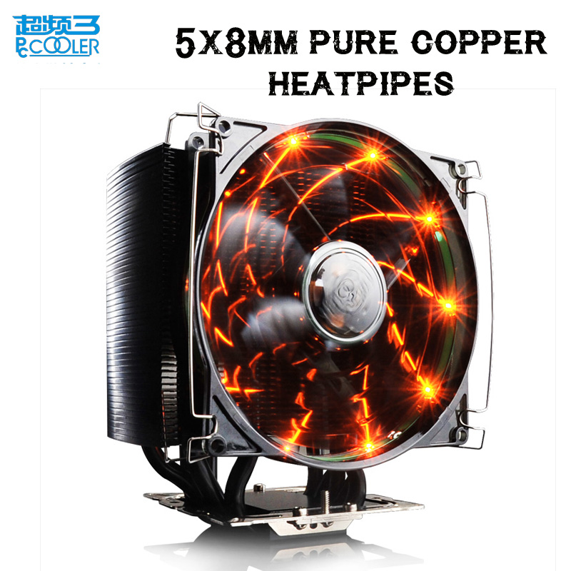 PCcooler S126 4pin PWM 12cm 10pcs led fan 5*8mm heatpipes all black cpu cooler amd intel cpu cooling ratidor fan queit silent