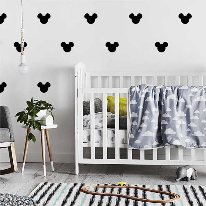 Pequeño Mickey adhesivo pared ratón para habitación de niños bebé pegatinas decorativas para el dormitorio taza patrón decorativo guardería niños pared pegatina