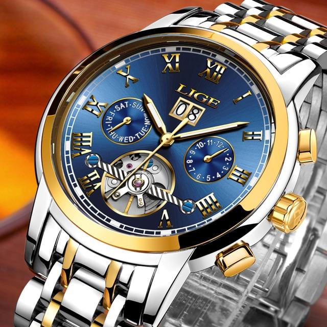 54e4a842347 LIGE Mens Relógios Top Marca de Luxo Mecânico Automático de Negócios de  Moda Relógio De Ouro