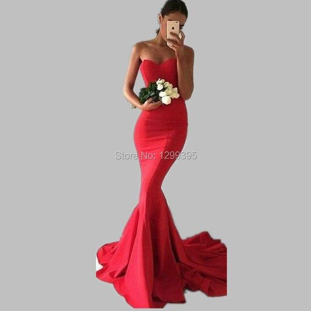dernière mode une performance supérieure style moderne US $106.0 |Avondjurken Lange Long Red Simple Mermaid Evening Dresses Robe  de Soiree Longue Formal Gowns Vestidos Largos de Noche Robe Rouge-in  Evening ...