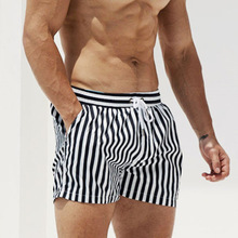 Desmiit Swimwear Briefs Shorts Trunks Waterproof Beach Boxer Surf Striped Men