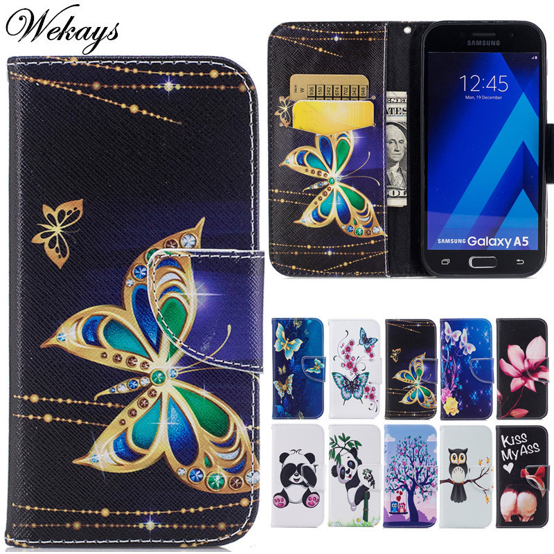 Wekays Cute Cartoon Butterfly Leather Flip Fundas Case sFor Coque Samsung Galaxy A3 2017 SM-A320F A5 2017 SM-A520F Cover Cases