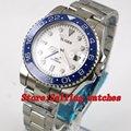 40 мм белый циферблат синий керамический ободок GMT светящиеся руки сапфировое стекло автоматическое движение Мужские механические часы