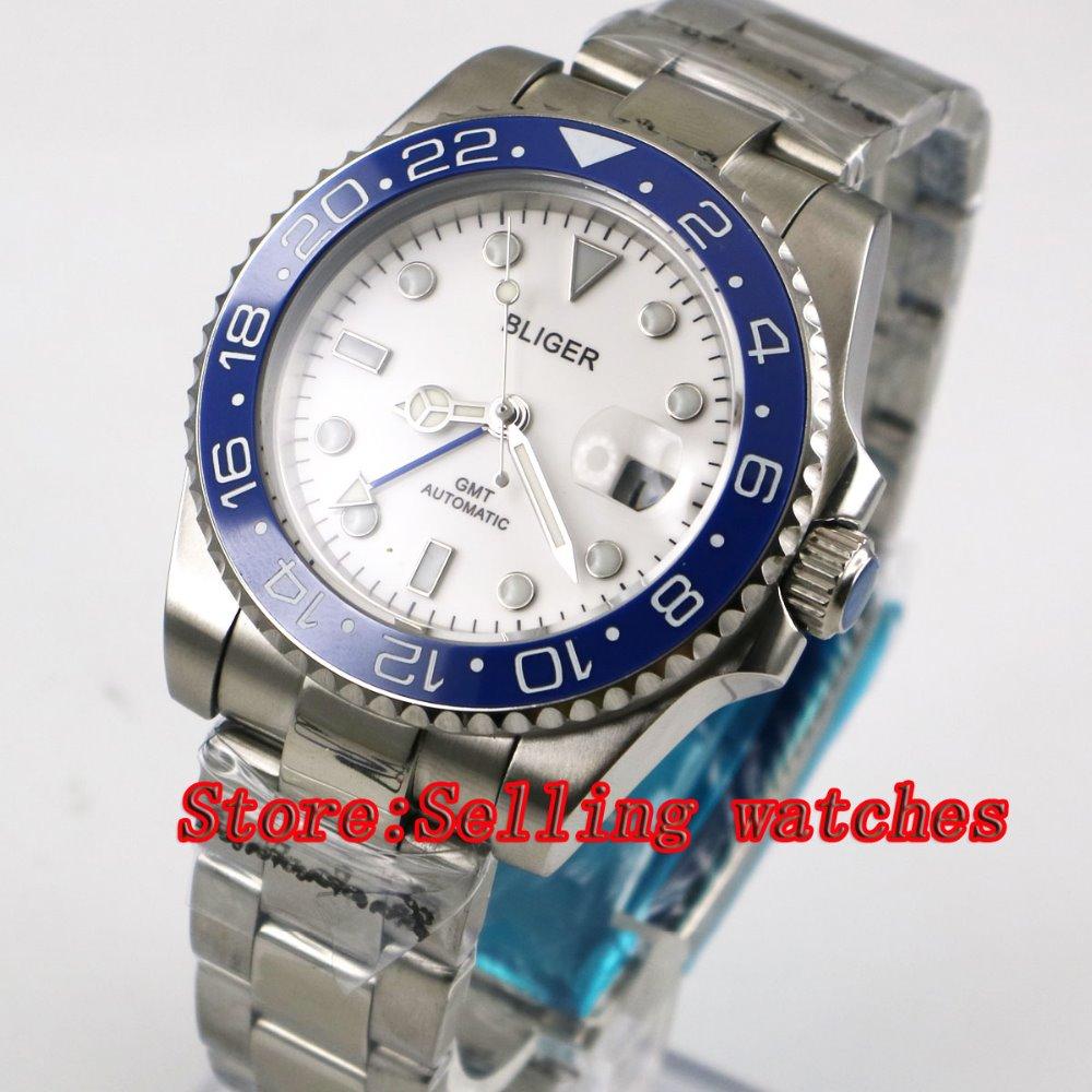 40mm Bliger White Dial blue ceramic bezel GMT Luminous Hands Sapphire Glass Automatic Movement Men