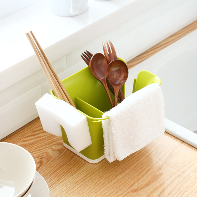 New Kitchen Cutlery Storage Box Sponge Holder Drainer Brush Cloth Storage  Rack Sink Draining Towel Shelf