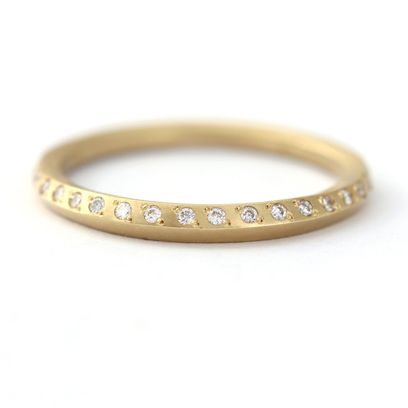 Minimalist Tiny Diamonds Wedding Ring Half Eternity Band Simple Diamond 14k Yellow Gold 1 0mm Round In Rings From Jewelry Accessories On