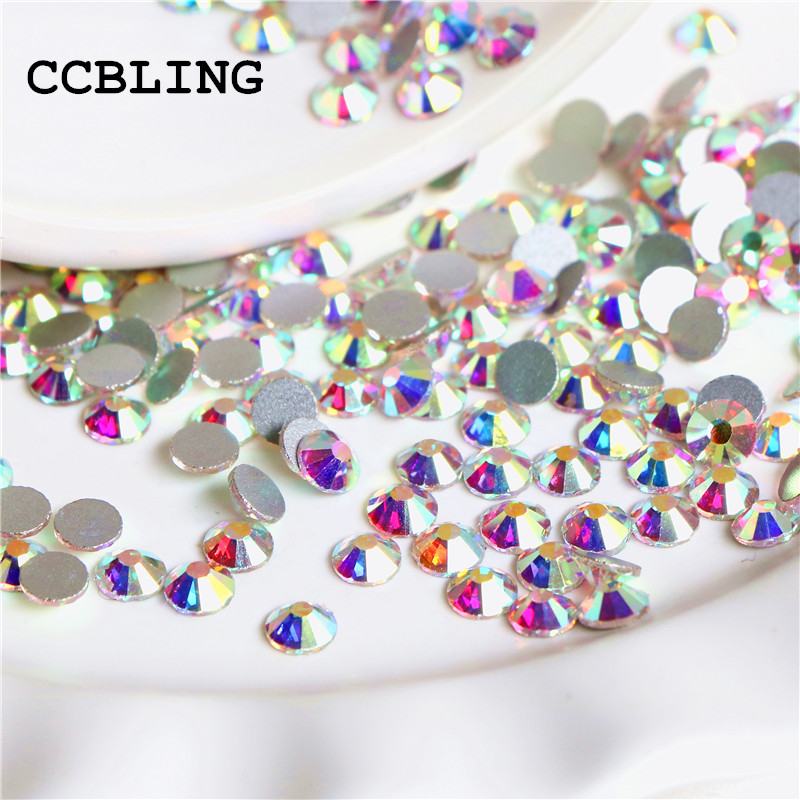 CCBLING Super Shiny SS3-ss40 Bag Clear Crystal AB color 3D Non HotFix FlatBack Nail Art Decorations Flatback Rhinestones super shiny 1440pcs ss8 2 3 2 4mm clear ab glitter non hotfix crystal ab color 3d nail art decorations flatback rhinestones 8ss