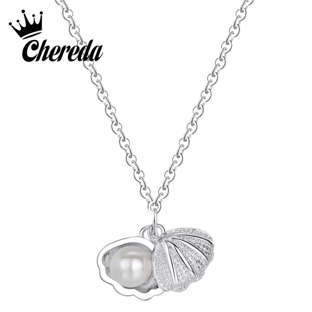 Chereda  Tiny Shell Shape Necklace&Pendant for Women Long Chain Pearl Small Pendant Elegant Jewelry Wedding Gift