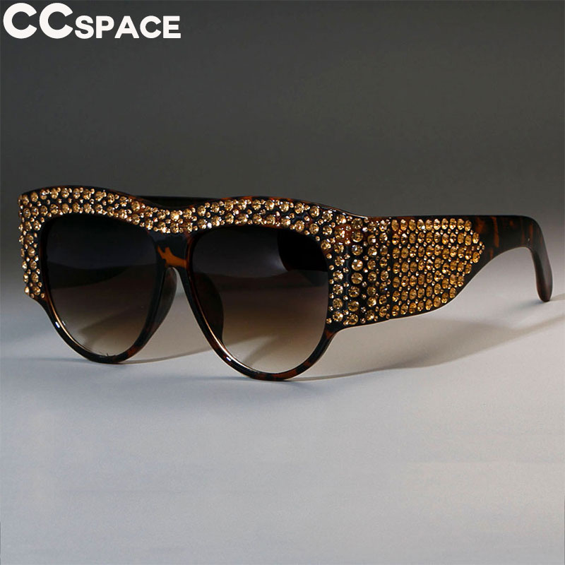 Luxury Square Sunglasses Women Oversized Rhinestone Frame Bling Diamond 45482 CCSPACE Brand Glasses Fashion Female Shades
