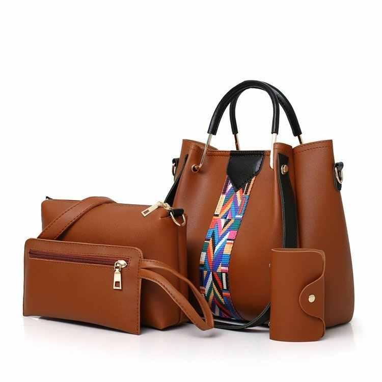 Sang trọng Thiết Kế Thương Hiệu 4 cái Set Phụ Nữ Túi Xách Dải Màu Casual Messenger Shoulder Bags Chất Lượng Cao PU Leather Tote Bag ví