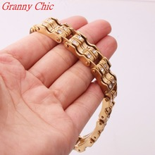 Granny Chic 9″*15MM New Arrival Fashion Jewelry Men Women Crystal Bracelets Gold Tone 316L Stainless Steel Bracelets & Bangles