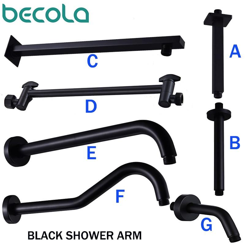 BECOLA Bathroom Brass Wall Shower Arm Dark Mounted Connecting Rod Sprinkler Shower Tube Black Bracket/Ceiling Pipe Folding Arm