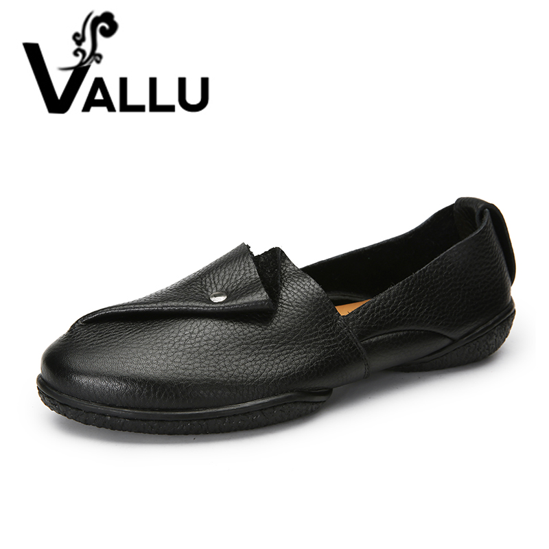 VALLU 2018 Shoes Women Flats Genuine Leather Flat Heels Soft Comfortable Loafers Mother Shoes Black Plus Size big size 40 43 genuine leather women flats new women loafers comfortable soft bottom mother work shoes
