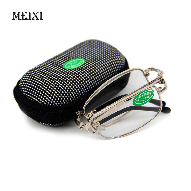 Hot Foldable Clear Men Women Reading Glasses Grid Case With Belt Clip Presbyopic +1.0+1.5+2.0+2.5+3.0+3.5 +4.0