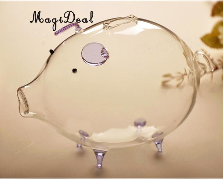 MagiDeal New Handmade Piggy Bank Design Glass Money Box Vase Bottle Terrarium Container for House Office Supplies Lovely Gifts