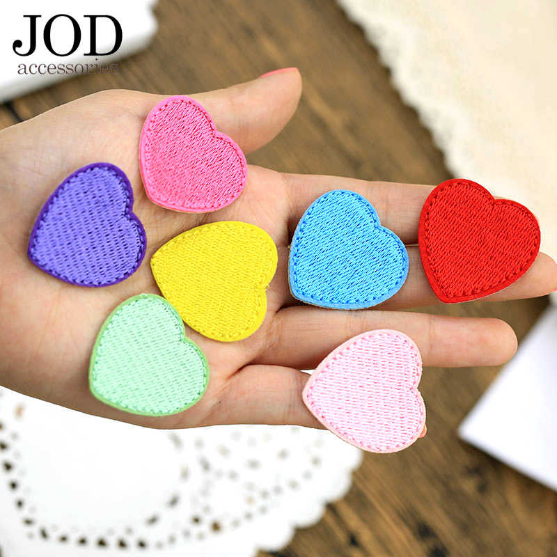 JOD Small Ironing Cloth Patch Embroidered LOVE Heart Shaped Sewing Applique Pink Red Black Sew Iron on Sticker on Clothes Thermo