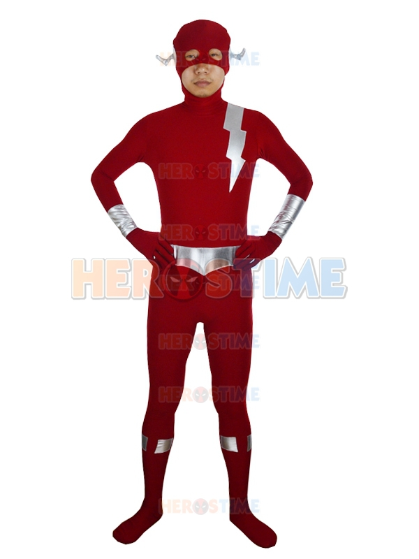 Newest The Flash Female Powerful Superhero Costume Sliver & Dark Red Flash zentai suit