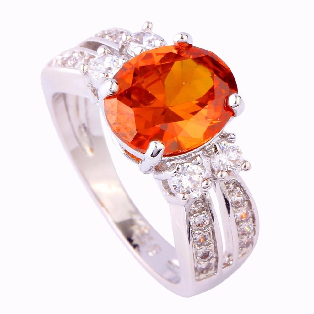 New fashion red hollow zirconia orange zircon ring