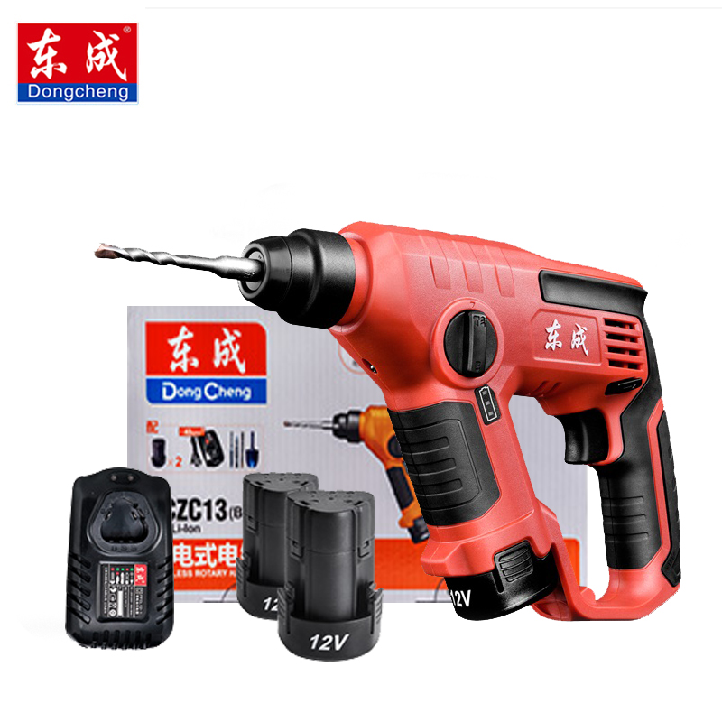 цена на Dongcheng Electric Hammer Impact Drill Power Drill 12V 12mm 3 Functions DC Electric Rotary Hammer with BMC and 5pcs Accessories