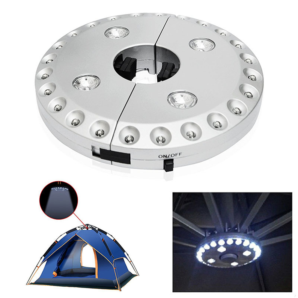 Silver Umbrella Pole Light 28led Portable Parasol Led Camping Tent Lamp For Sun Umbrella Garden Terrace Patio Lighting